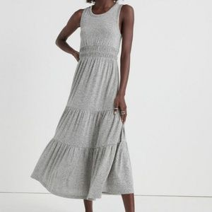 Lucky Brand XS Tiered Smocked Maxi Dress Gray